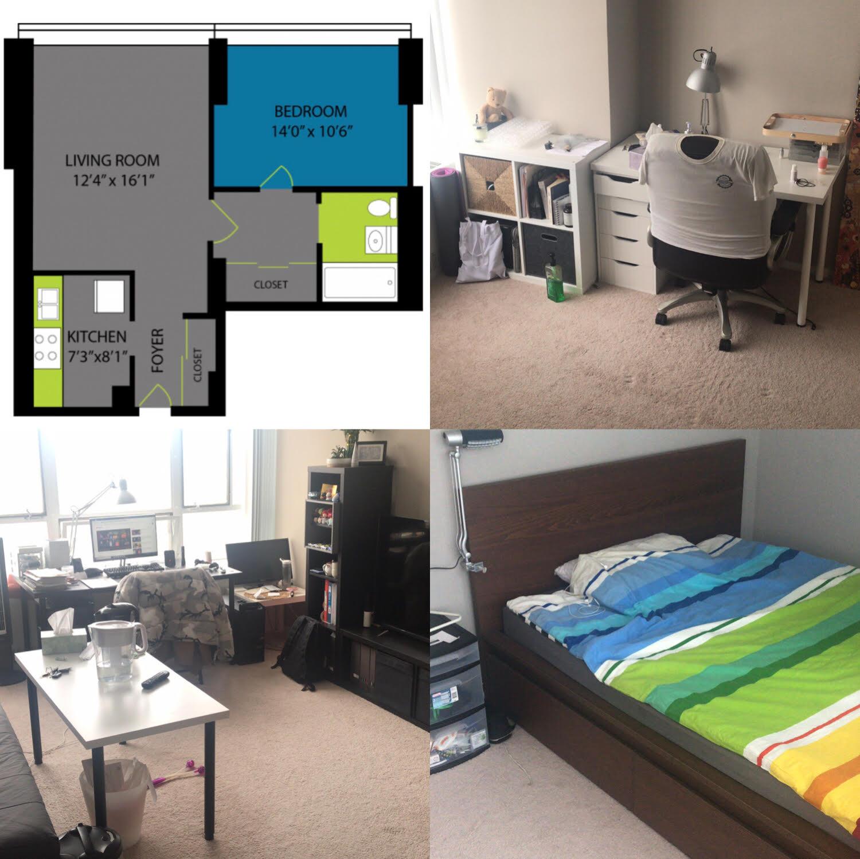 Lake Meadows500一室一厅整套转租,送全套家具,拎包入住 !