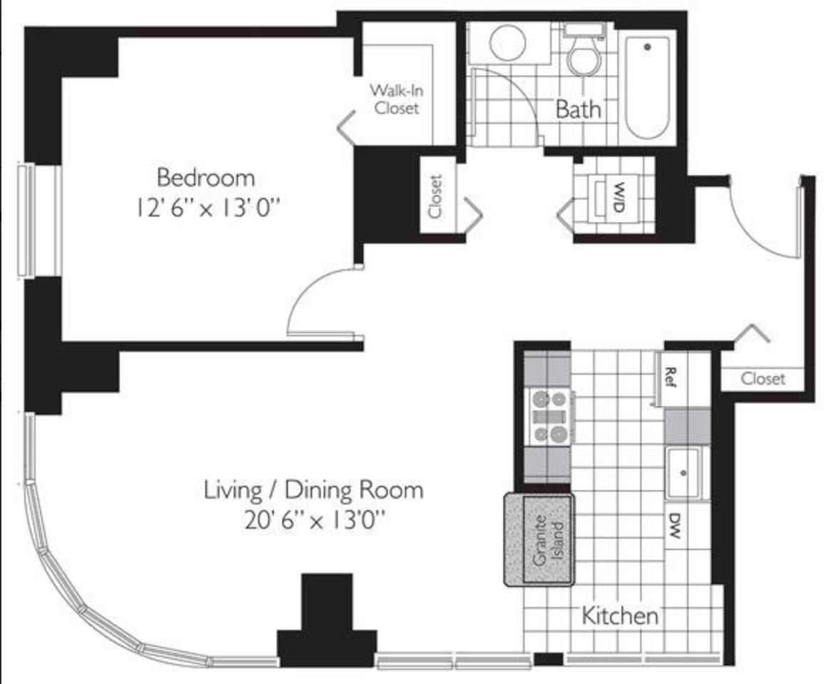 芝加哥市中心大楼 1B1B 卧室求女室友